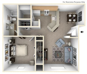 1 Bed 1 Bath One Bedroom Seville Floor Plan at South Bridge Apartments, Indiana, 46816