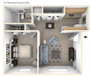 One Bedroom One Bath Floor Plan at Wingate Apartments, Michigan, 49512