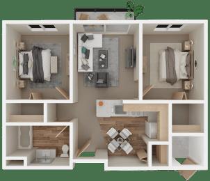 Floor Plan 2Bed 1Bath | Age 55+