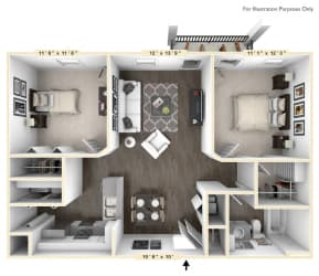The Veneto - 2 BR 1 BA with Study Floor Plan at Bella Vista Apartments, Fishers, IN, 46038