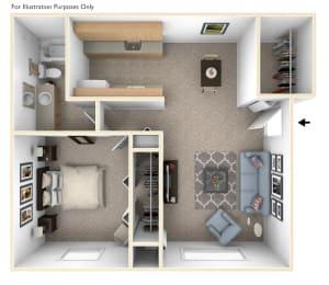 One Bedroom Floor Plan at Seville Apartments, Kalamazoo, Michigan