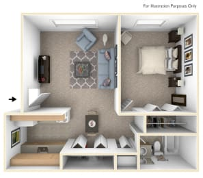 One Bedroom One Bath Floorplan at Granada Apartments, Jackson, Michigan