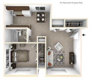1-Bed/1-Bath, Mina Floor Plan at Fox Pointe Apartments, East Moline, IL, 61244