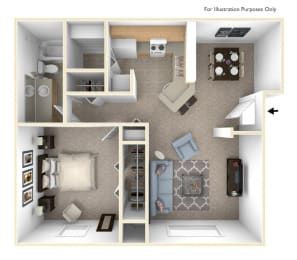 One Bedroom Madrid Floor Plan at Trappers Cove Apartments, Lansing, 48910