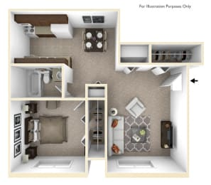 1-Bed/1-Bath, Mina Floorplan at Golden Gate at Bristol Square and Golden Gate Apartments, Wixom, 48393