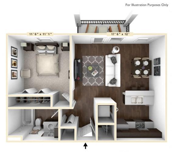 Floor Plan  The Saxum Studio - 1 BR Floor Plan at Bella Vista Apartments, Fishers, 46038