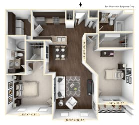 The Santa Cruz - 2 BR 2 BA Floor Plan at Bella Vista Apartments, Fishers, Indiana