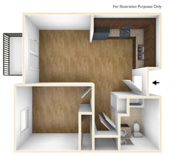 Floor Plan  Unfurnished 1 Bedroom 1 Bath 3D Floorplan_Casa Salazar Apartments Los Angeles, CA