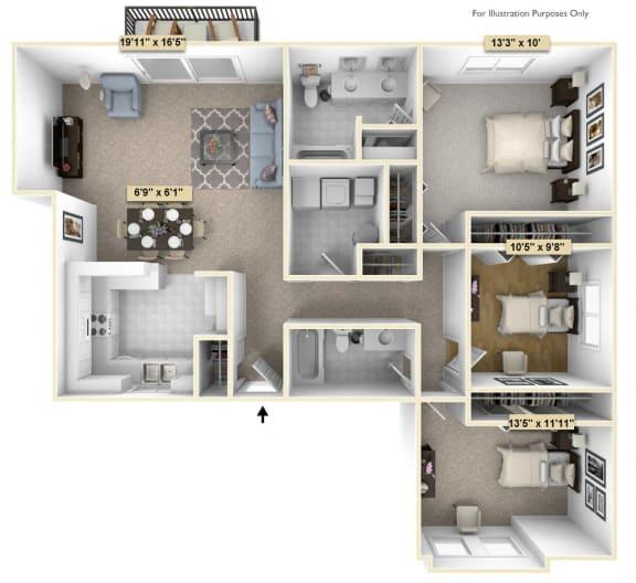 Floor Plan  Three Bedroom Juniper Floor Plan at Thornridge Apartments, Michigan