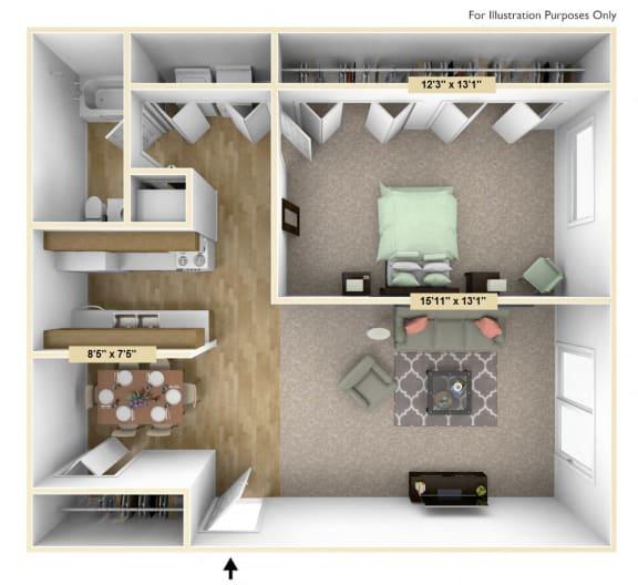 Floor Plan  Buckingham One Bedroom Floor Plan at Windsor Place, Michigan, 48423