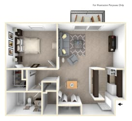 1-Bed/1-Bath, Orchid View Floor Plan at Eastgate Woods Apartments, Batavia