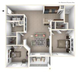 2-Bed/2-Bath, Bradley Floor Plan at Irene Woods Apartments, Tennessee