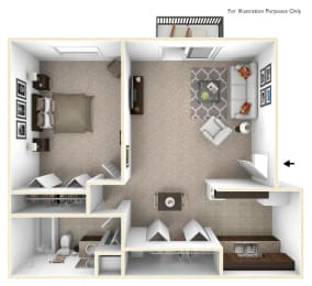1-Bed/1-Bath, Primrose Floor Plan at Eastgate Woods Apartments, Batavia, OH