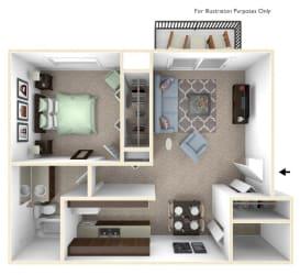 1-Bed/1-Bath, Magnolia Floorplan at Golden Gate at Bristol Square and Golden Gate Apartments, Wixom, MI, 48393