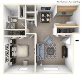 One Bedroom Deluxe Floor Plan at Apple Ridge Apartments, Walker