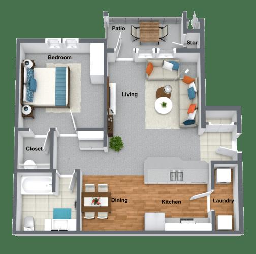 Floor Plan  1-Bedroom 1-Bath