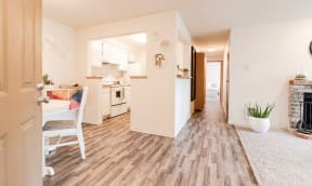 Tacoma Apartments - Monterra Apartments - Entryway, Dining Room, Kitchen, Hallway, Bedroom, and Living Room