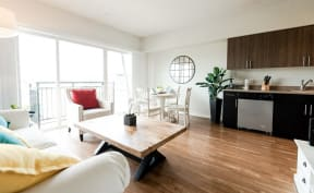 Kent Apartments - The Platform Apartments - Living Room, Dining Room, Kitchen, and Deck