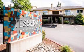 Everett Apartments - Tessera Apartments - Sign and Front Exterior