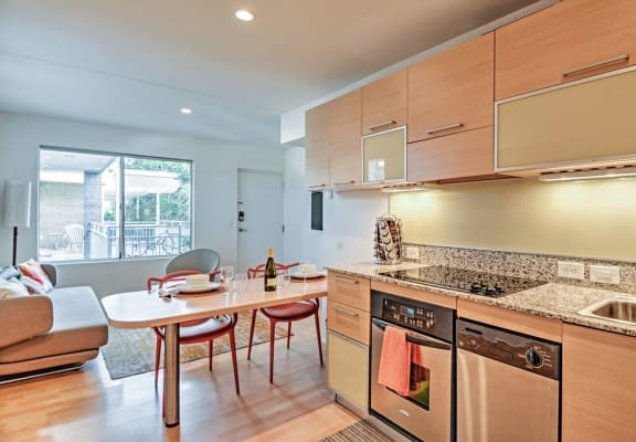 Kitchen and living room at The Regency Apartments in Tempe AZ