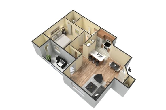 Floor Plan  1 Bed 1 Bath Floor Plan at Portofino Apartment Homes, Florida, 33647-3412