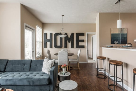 Moder Kitchen with Living Room Interior View at Maple Knoll Apartments, Indiana, 46074