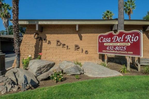 Welcoming Property Signage at Casa Del Rio Apartments, Fresno, California