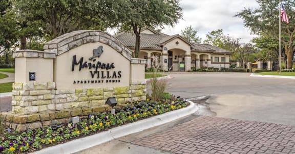Welcoming Property Sign at Mariposa Villas, Dallas, 75211