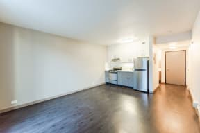 Seattle Apartments - Cosmopolitan Apartments - Main Room, Kitchen, and Entryway