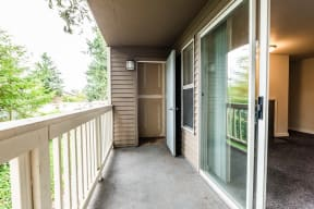 Tacoma Apartments - Sienna Apartments - Deck, Storage Room, Living Room, and Fireplace