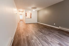 Lakewood Apartments - Bellmary Park Apartments - Living Room, Entryway, and Kitchen