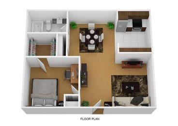 1 Bedroom 1 Bathroom Floor plan at Sherwood Forest Apartment Homes, Kankakee