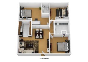 3 Bedroom 2 Bathroom Floor Plan at Sherwood Forest Apartment Homes, Illinois, 60901
