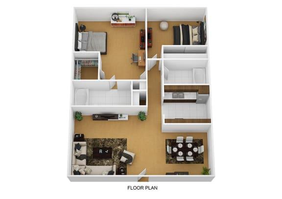 Floor Plan  2 Bedroom 2 Bathroom Floor Plan at Sherwood Forest Apartment Homes, Illinois