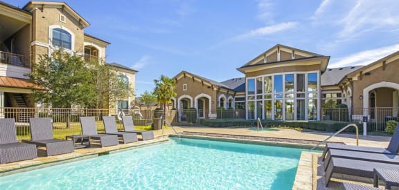 Glimmering Pool and Clubhouse at Summercrest Apartments, Burleson, Texas
