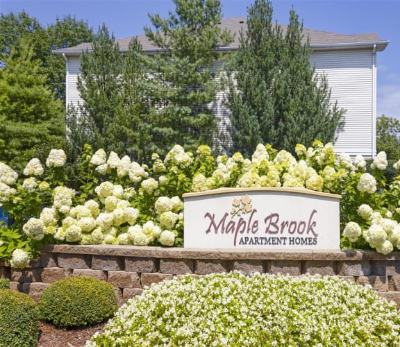 Exterior Landscaping and Sign at Maple Brook Apartments, Louisville