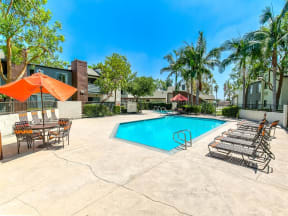 Apartments in Ontario, CA - Avante Sparkling Swimming Pool Surrounded by Lush Landscaping and Lounge Seating
