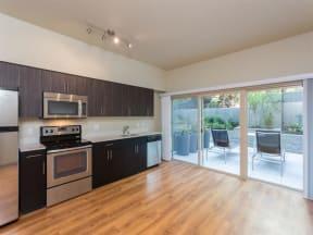 Seattle Apartments - Canvas Apartments - Loft Layout Kitchen and Patio