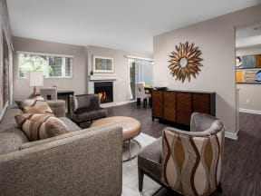Living area with fireplace and windows