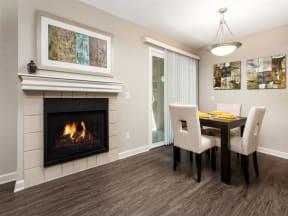 Fireplace near dining area