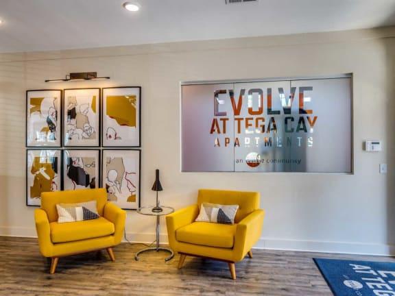 Apartment Entrance with Classy Chairs at Evolve at Tega Cay, South Carolina