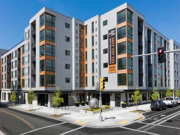 exterior street view of cook street apartments