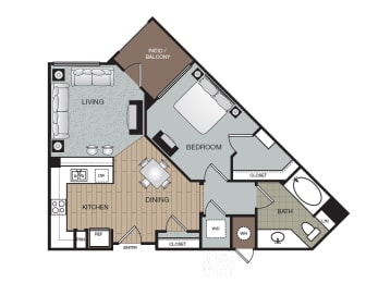 Urban 1 Bed 1 Bath Floorplan at The Enclave at Warner Center, Woodland Hills, 91303