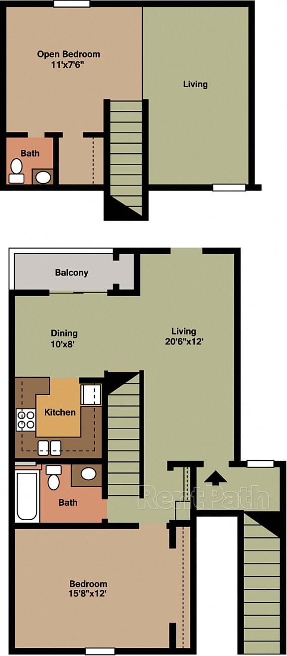 2 Bedroom Loft Floor Plan at Lake Marina Apartments, Indianapolis, 46229