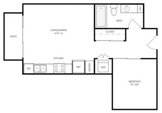 Studio 1 Bath 523 square feet floor plan A3 - MFTE