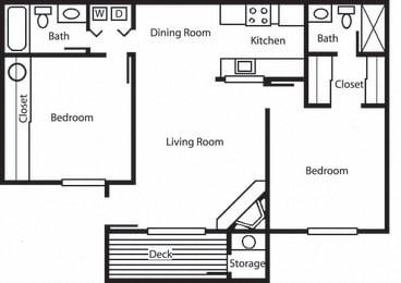 Oak - 2 Bedroom 2 Bath Floor Plan Layout - 918 Square Feet