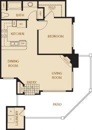 Coastal Oaks - 1 Bedroom 1 Bath Floor Plan Layout - 772 Square Feet