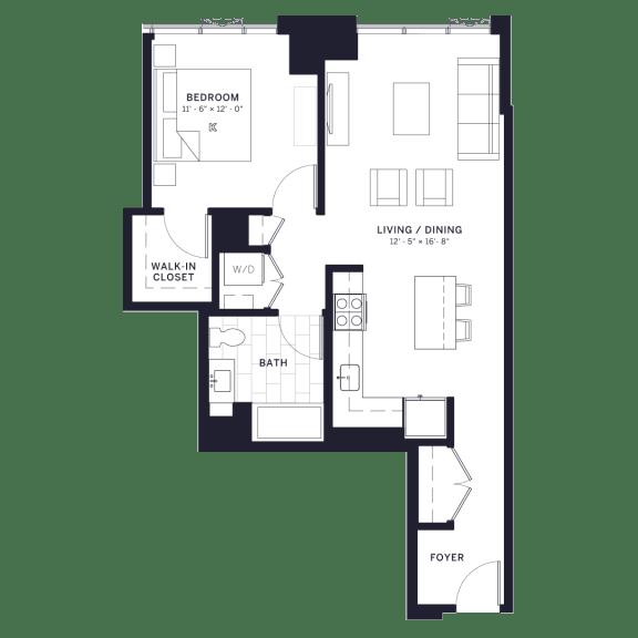Floor Plan  Lincoln Common Dickens (C1) One Bedroom Floor Plan