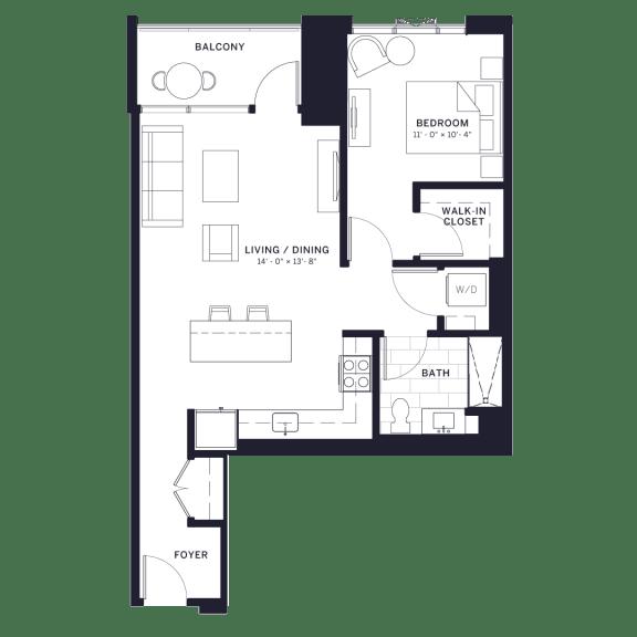 Floor Plan  Lincoln Common Hudson (C2) One Bedroom Floor Plan