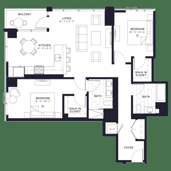 Floor Plan  Lincoln Common Armitage Two Bedroom Floor Plan